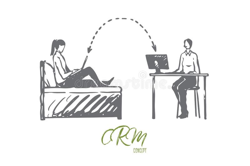 CRM, affare, sistema, cliente, concetto online Vettore isolato disegnato a mano illustrazione di stock
