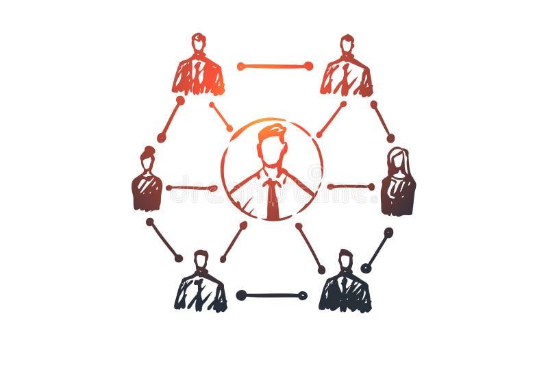 CRM, client, affaires, analyse, concept de commercialisation Vecteur d'isolement tiré par la main illustration de vecteur