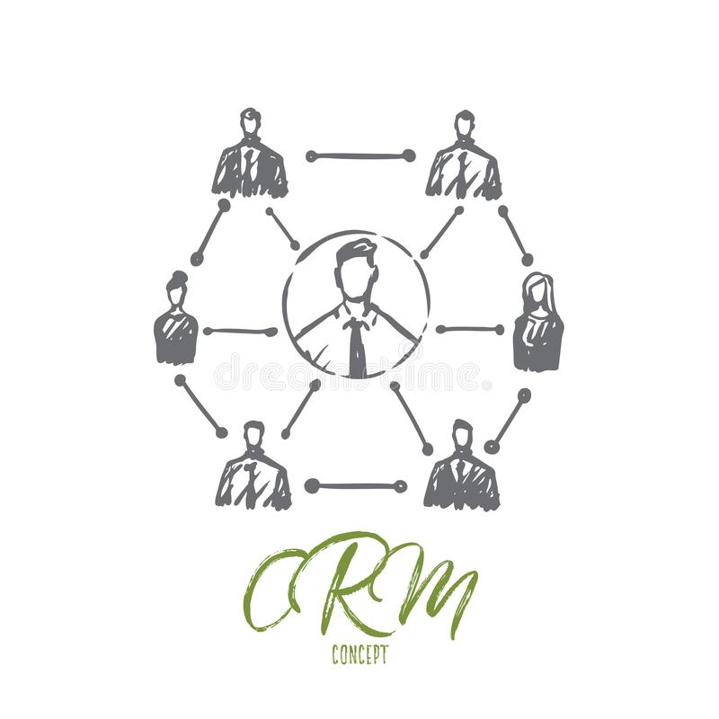 CRM, cliente, negocio, análisis, concepto de comercialización Vector aislado dibujado mano libre illustration
