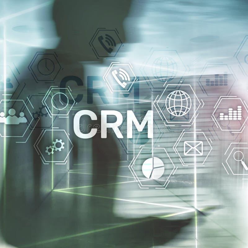 CRM, conceito de sistema do gerenciamento de relacionamento com o cliente no sumário borrou o fundo imagem de stock