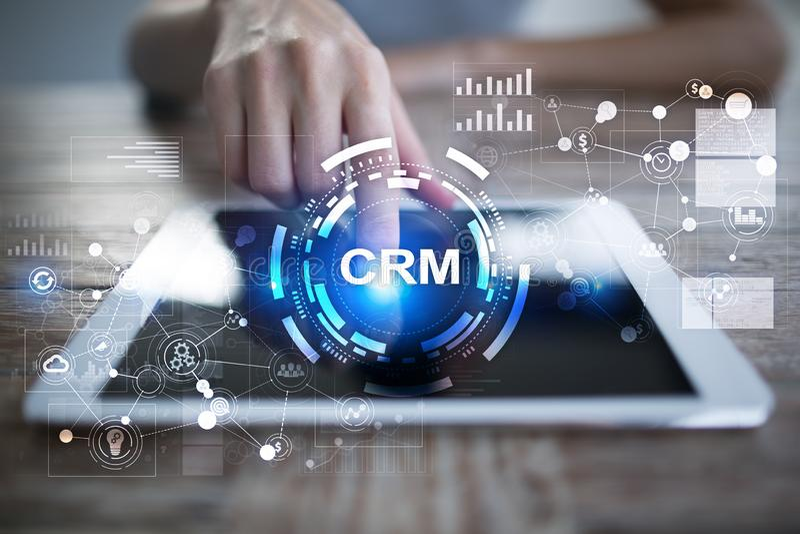 CRM Conceito do gerenciamento de relacionamento com o cliente Serviço ao cliente e relacionamento fotografia de stock royalty free
