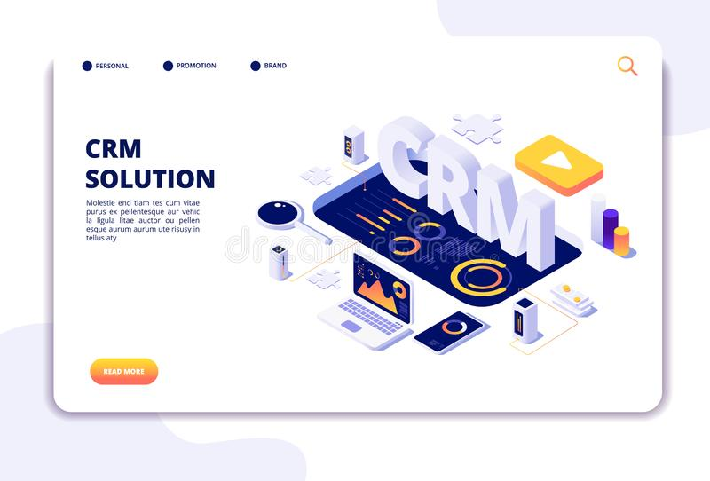 Crm concept. Customer relationship management. Business system solution. Client support landing page royalty free illustration