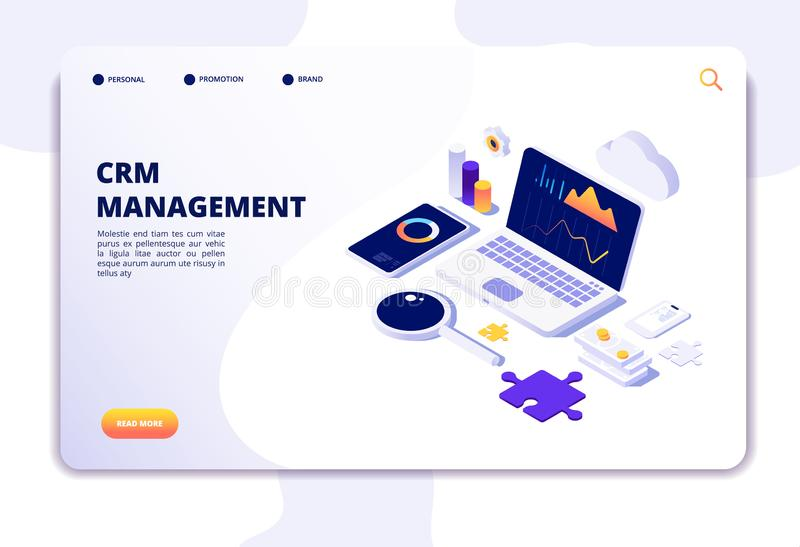Crm concept. Customer relationship management. Database web system solution. Isometric landing page. Illustration of crm management, strategy market, analysis royalty free illustration