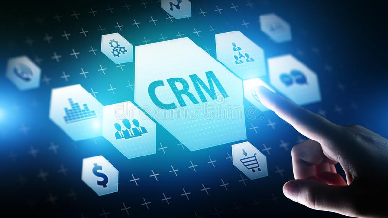 CRM - Customer relationship management automation system software. Business and technology concept. stock photography