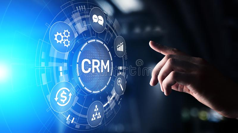 CRM - Customer relationship management automation system software. Business and technology concept. CRM - Customer relationship management automation system royalty free stock photo