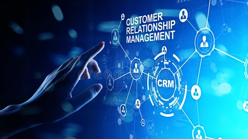 CRM - Customer relationship management automation system software. Business and technology concept. CRM - Customer relationship management automation system royalty free stock images