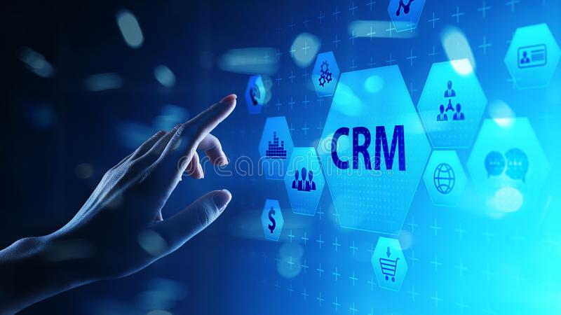 CRM - Customer relationship management automation system software. Business and technology concept. CRM - Customer relationship management automation system stock images