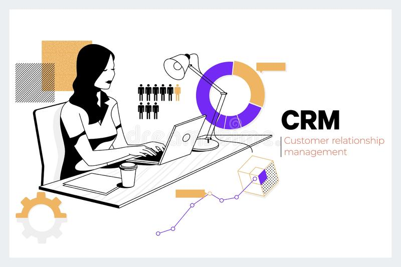 CRM Customer Relationship Management Business Internet Techology Concept.Creative woman working with computer in the. Office.Flat vector illustration royalty free illustration
