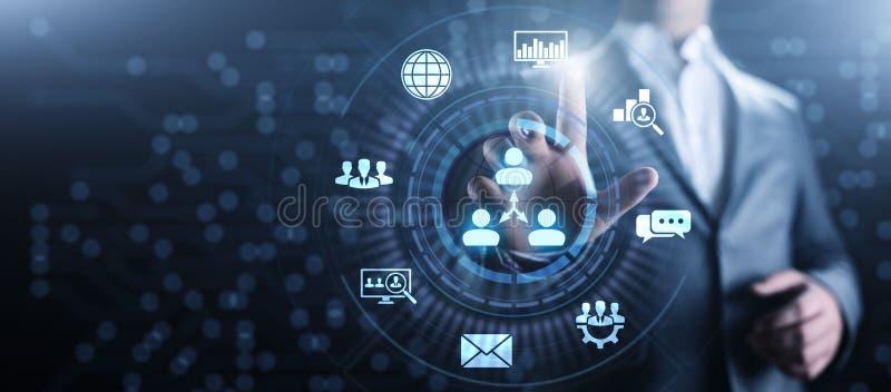 CRM - Customer Relationship Management. Enterprise Communication and planning software concept. CRM - Customer Relationship Management. Enterprise Communication royalty free illustration