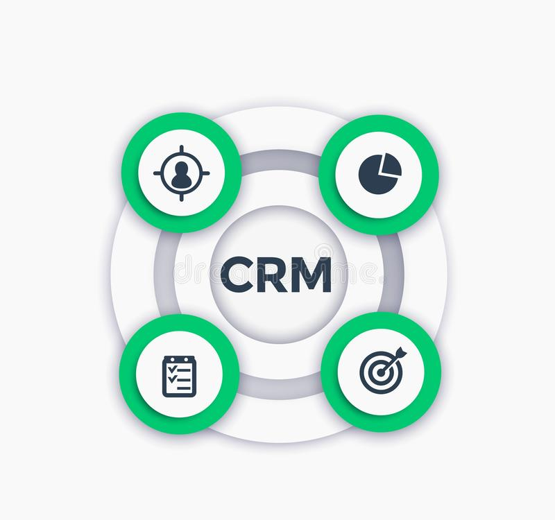 CRM, customer relationship management infographics. CRM, customer relationship management round infographics, eps 10 file, easy to edit vector illustration