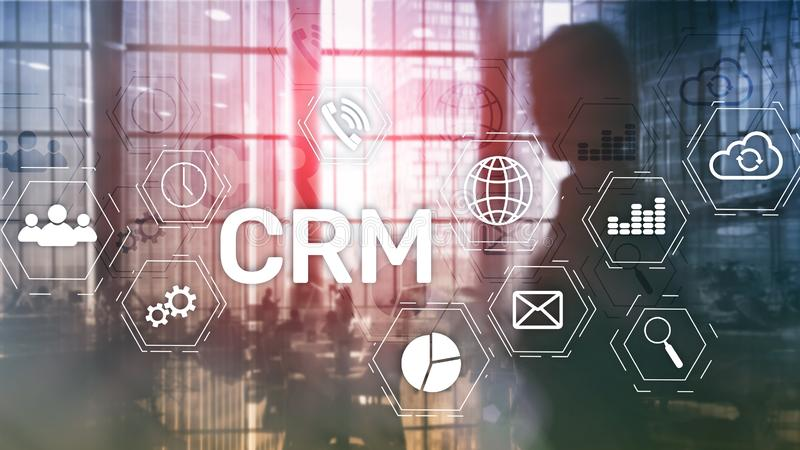 CRM, Customer relationship management system concept on abstract blurred background.  stock images