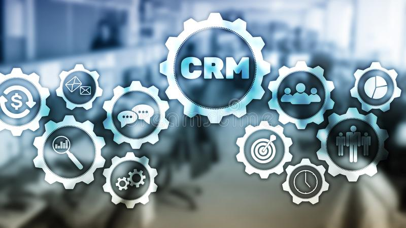CRM, Customer relationship management system concept on abstract blurred background.  stock illustration