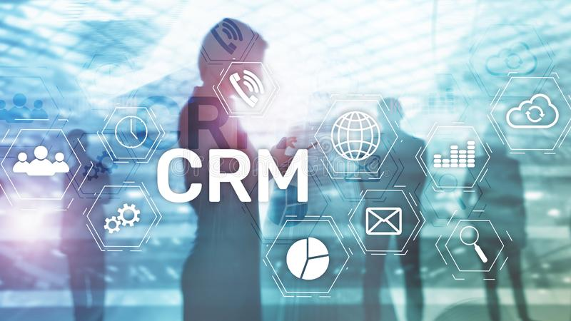 CRM, Customer relationship management system concept on abstract blurred background royalty free stock images