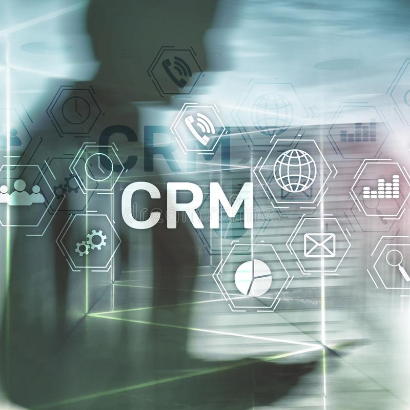 CRM, Customer relationship management system concept on abstract blurred background.  stock image