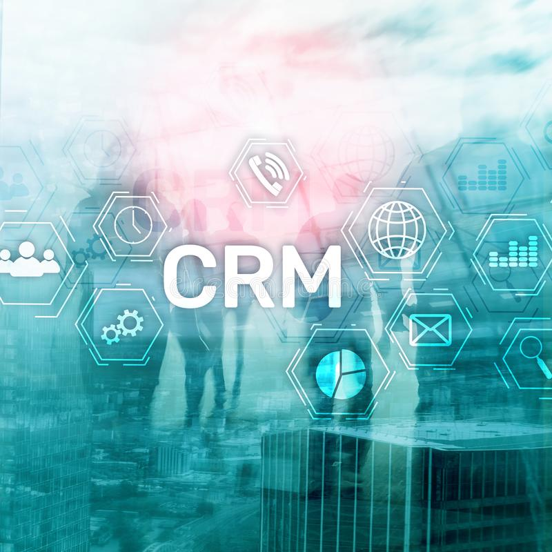 CRM, Customer relationship management system concept on abstract blurred background. CRM, Customer relationship .management system concept on abstract blurred stock photos