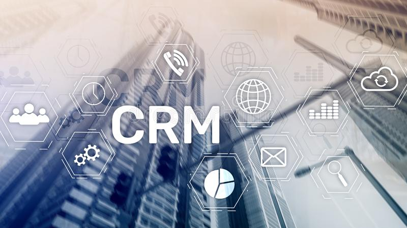 CRM, Customer relationship management system concept on abstract blurred background.  royalty free stock photo