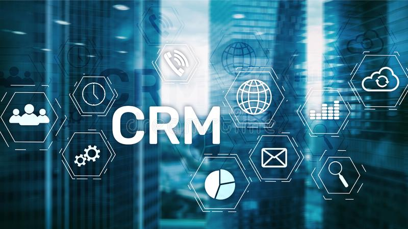 CRM, Customer relationship management system concept on abstract blurred background. CRM, Customer relationship management system concept on abstract blurred stock image