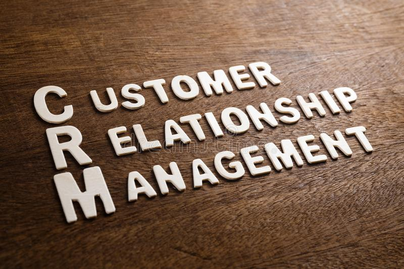 CRM Wood Letters. CRM Customer Relationship Management text by wood letters on wood texture royalty free stock image