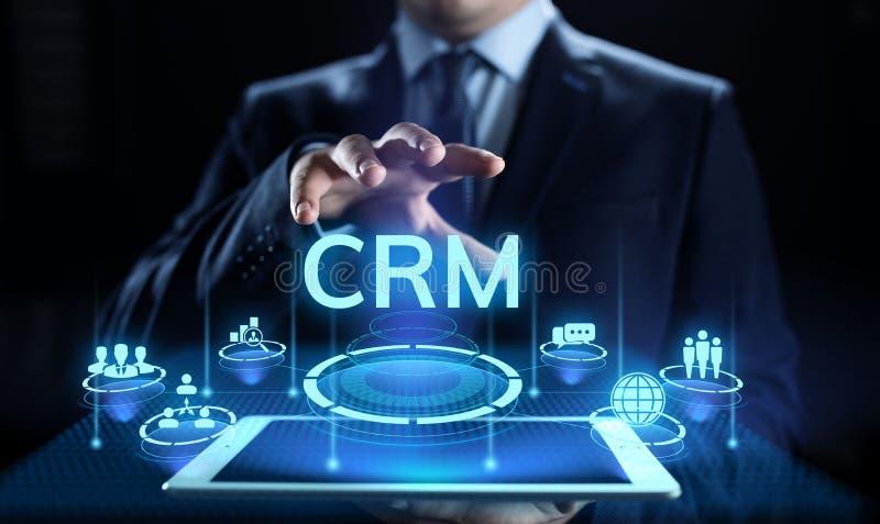 CRM - Gerência do relacionamento do cliente Conceito de software de uma comunicação e planejar da empresa fotografia de stock