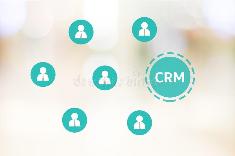 CRM, gestión de la relación del cliente, icono en backg de la oficina de la falta de definición libre illustration