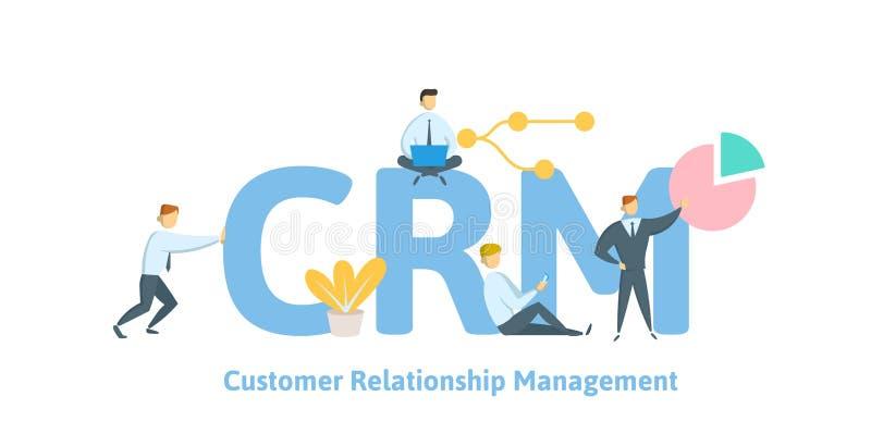 CRM, gestion de relations de client Concept avec des mots-clés, des lettres et des icônes Illustration plate de vecteur sur le bl illustration de vecteur