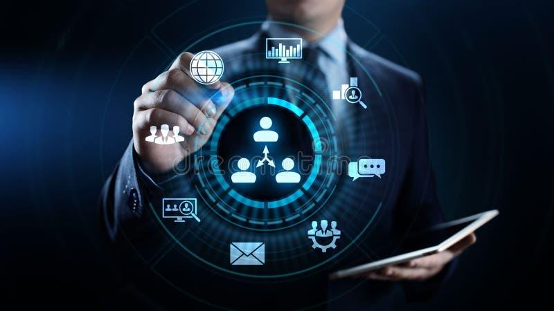 CRM - Gestione di rapporto del cliente Concetto di software di comunicazione e di pianificazione di impresa illustrazione vettoriale
