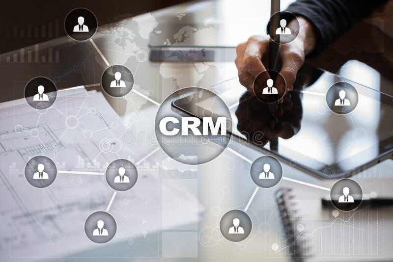 CRM Het concept van het klantrelatiebeheer De klantendienst en verhouding stock foto's