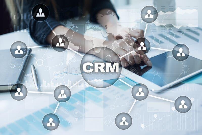 CRM Het concept van het klantrelatiebeheer De klantendienst en verhouding stock illustratie