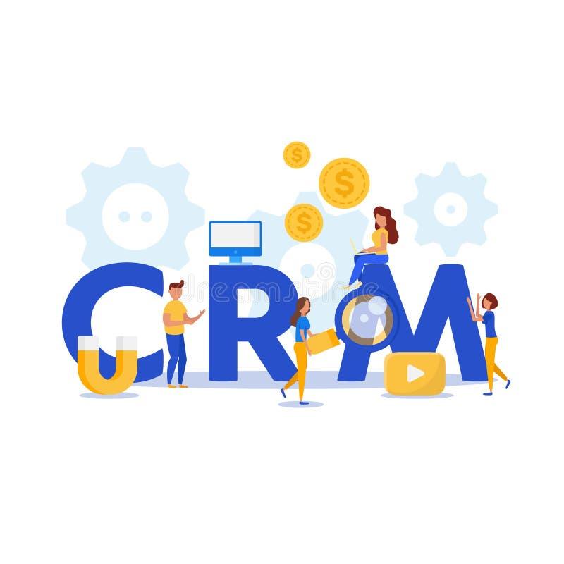 CRM Het concept van het klantrelatiebeheer groepswerk royalty-vrije illustratie