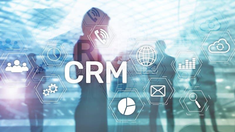 CRM, het systeemconcept van het Klantrelatiebeheer op samenvatting vage achtergrond royalty-vrije stock afbeeldingen