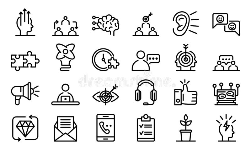CRM icons set, outline style stock illustration