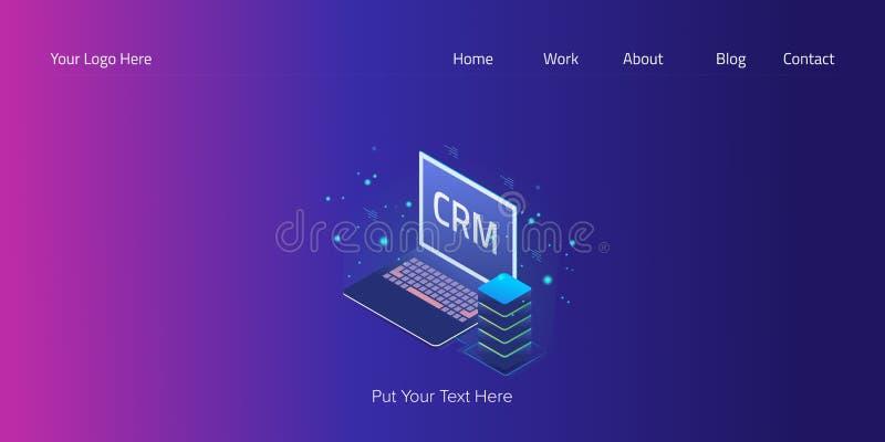 Crm isométrico, gestión del cliente empresa, tecnología de programación, plantilla del vector de la bandera de la web del sistema ilustración del vector