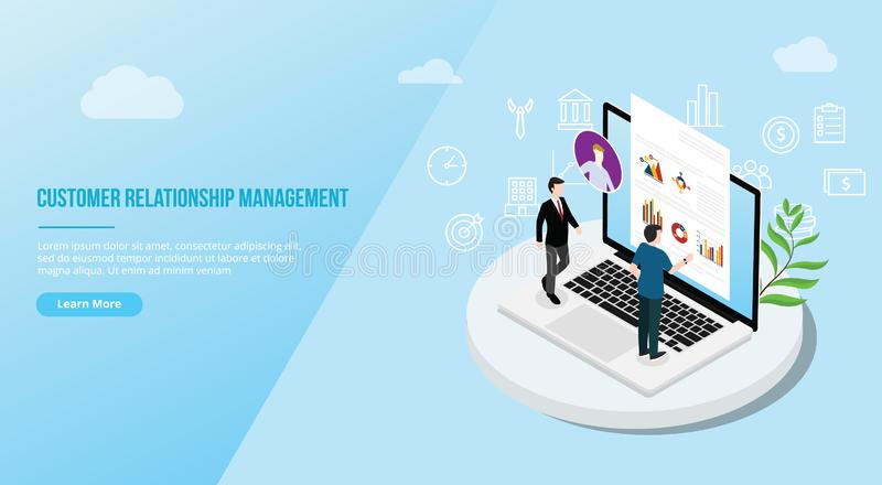 Crm isometric customer relationship management concept for website template landing homepage - vector. Illustration vector illustration