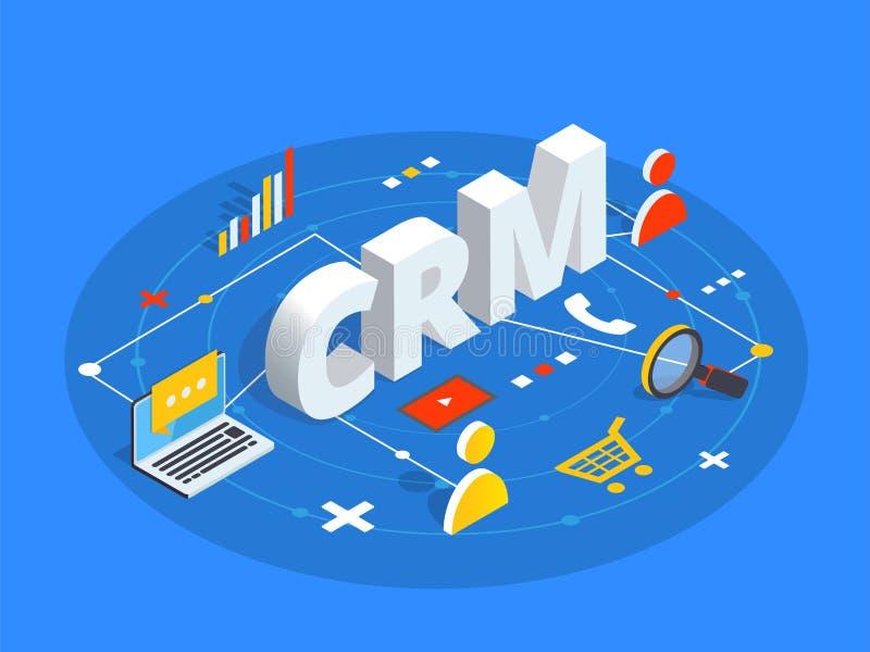 CRM isometrisk vektorillustration Kundförhållandemanagem royaltyfri illustrationer