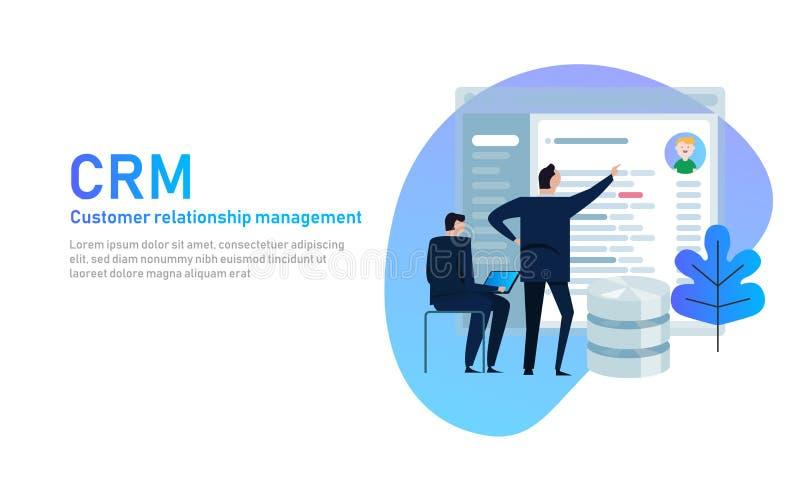 CRM Klienta związku zarządzania pojęcie Biznesmen patrzeje w bazy danych zastosowania ekran royalty ilustracja