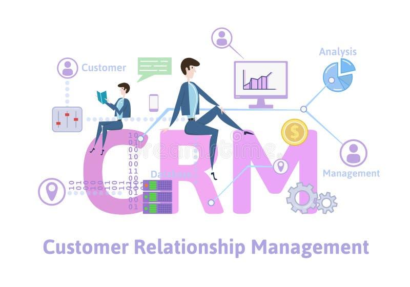 CRM, klienta związku zarządzanie Pojęcie stół z słowami kluczowymi, listami i ikonami, Barwiona płaska wektorowa ilustracja ilustracji