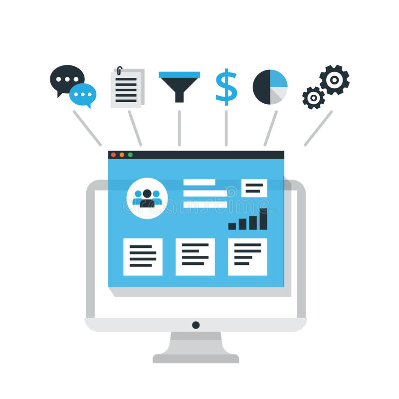 CRM-Konzeptdesign mit Elementen Flache Ikonen des Rechnungssystems, Kunden, Unterstützung, Abkommen Organisation von Daten bezügl stock abbildung