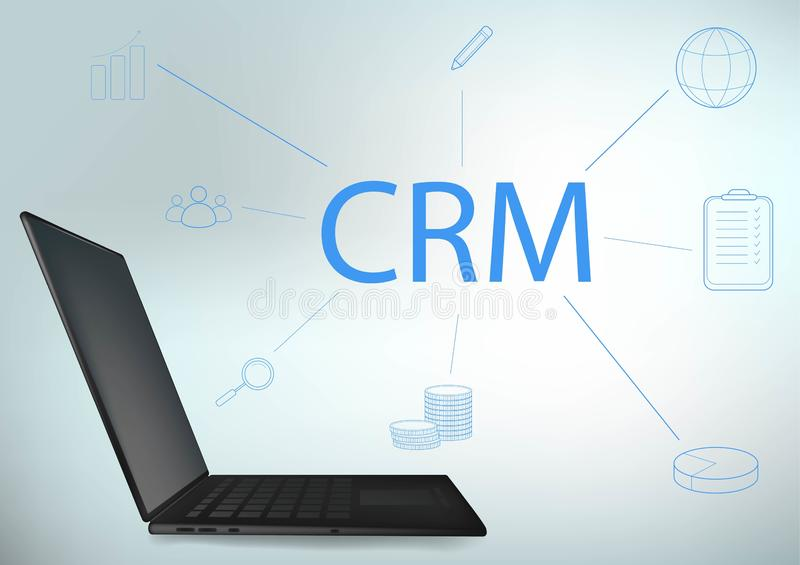 CRM-Konzeptdesign mit Vektorelementen Flache Ikonen des Rechnungssystems, Grafiken, Kunden, Unterst?tzung, Abkommen organisation vektor abbildung
