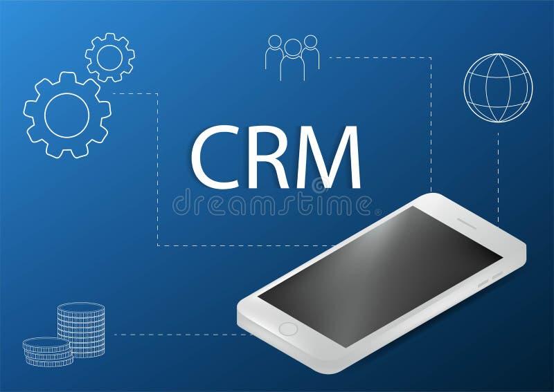 CRM-Konzeptdesign mit Vektorelementen Flache Ikonen des Rechnungssystems, Grafiken, Kunden, Unterst?tzung, Abkommen organisation stock abbildung