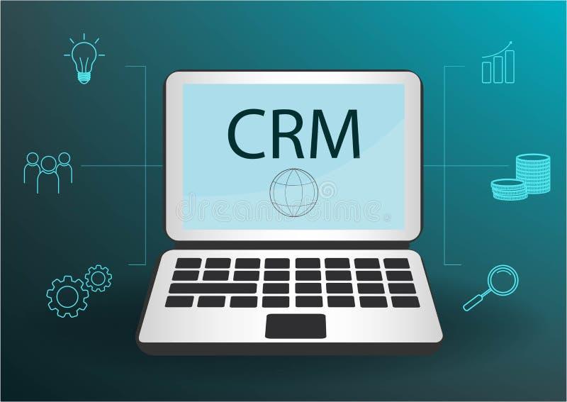 CRM-Konzeptdesign mit Vektorelementen Flache Ikonen des Rechnungssystems, Grafiken, Kunden, Unterst?tzung, Abkommen organisation lizenzfreie abbildung