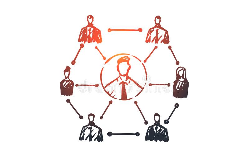CRM kund, affär, analys som marknadsför begrepp Hand dragen isolerad vektor vektor illustrationer