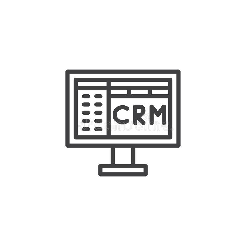 Crm linje symbol vektor illustrationer