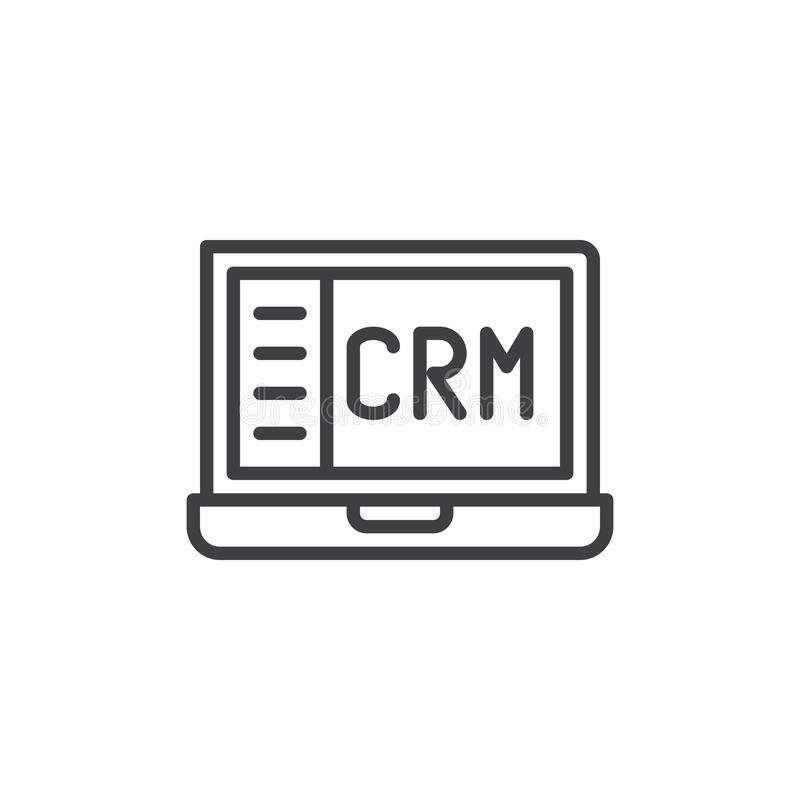 Crm Notebook Line Icon Stock Vector Illustration Of Business