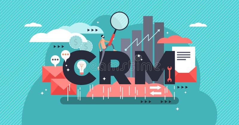 CRM ou illustration stylisée plate de vecteur de gestion de relations de client illustration libre de droits
