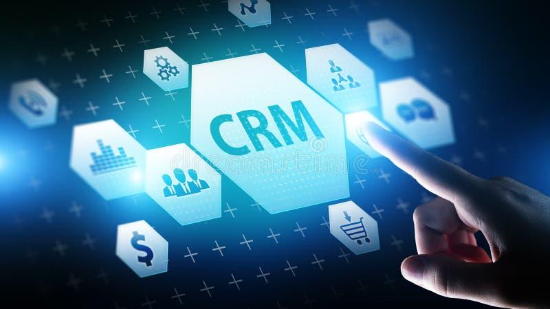CRM - Programvara för system för automation för kundförhållandeledning Affärs- och teknologibegrepp arkivbild
