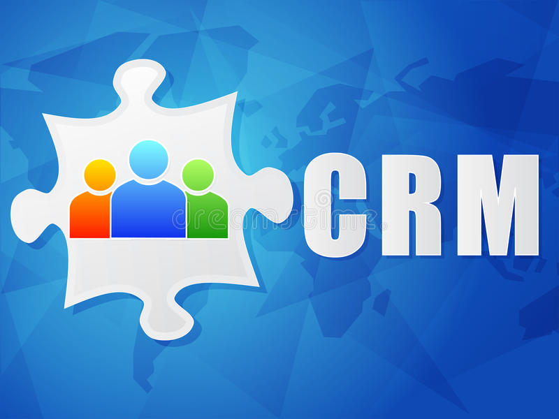 CRM and puzzle piece with person signs, flat design vector illustration