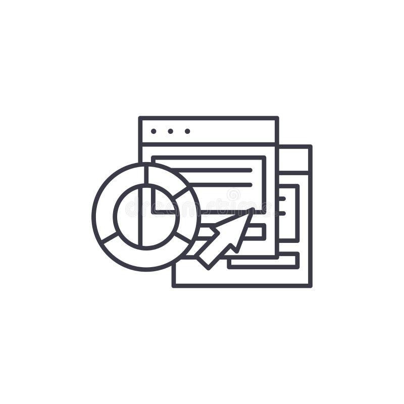 CRM-Software berichtet über lineares Ikonenkonzept CRM-Software berichtet über Linie Vektorzeichen, Symbol, Illustration lizenzfreie abbildung
