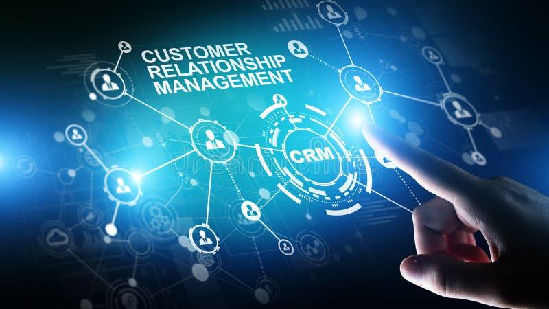 CRM - Software del sistema de la automatizaci?n de la gesti?n de la relaci?n del cliente Concepto del negocio y de la tecnolog?a foto de archivo libre de regalías