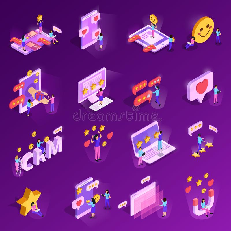 CRM System Isometric Icons royalty free illustration