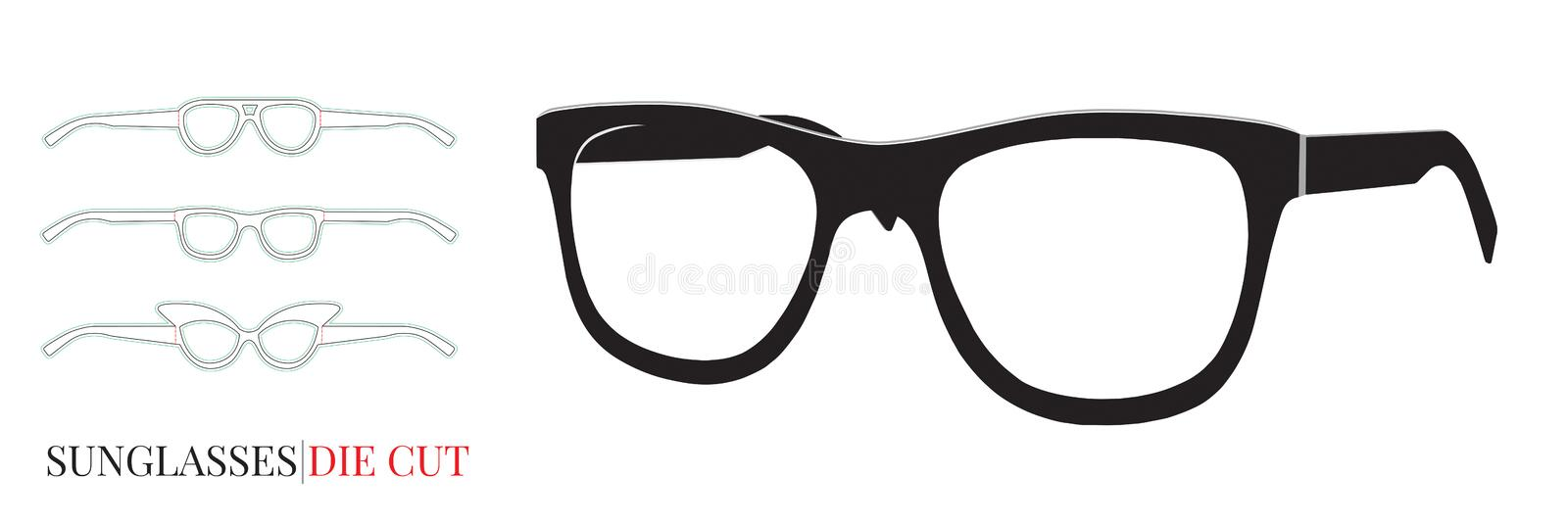 Retro Black Glasses Frame isolated on white, Vector with die cut / laser cut layers. Modern glasses icon, Eyeglasses model. Black Glasses Frame isolated on white stock illustration